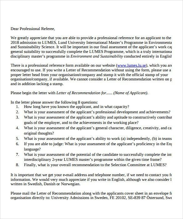10+ Letter Of Recommendation Samples - Sample Letters Word