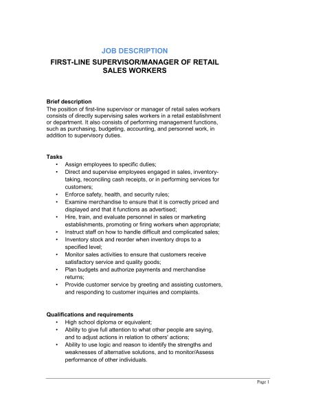 First-Line Supervisor or Manager of Retail Sales Workers Job ...