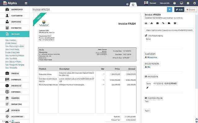 Aliphia Invoice - Chrome Web Store