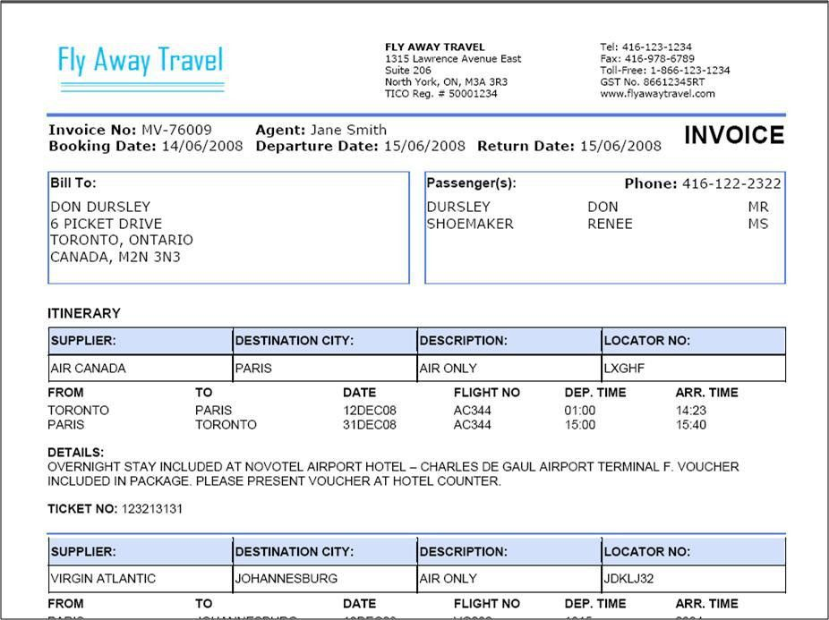 Travel Agency Invoice Format Excel | Invoice Templates | Pinterest ...