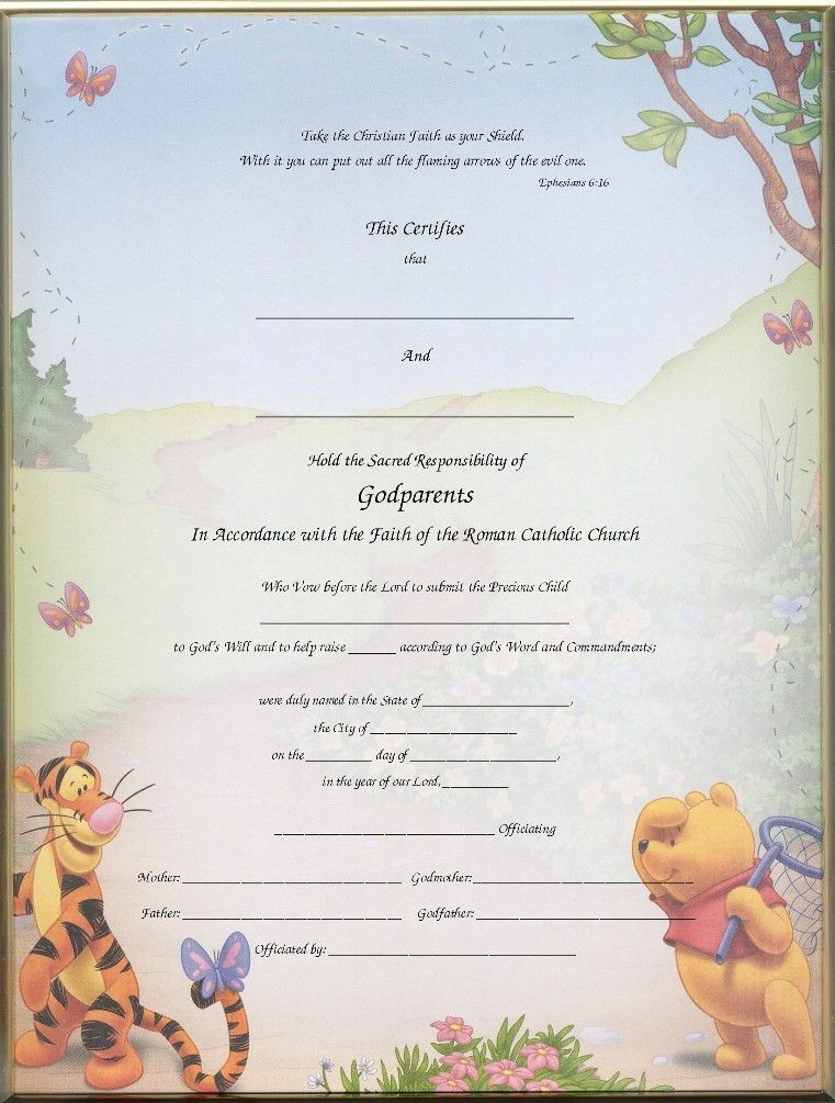 Christening Certificates for Godparents | Blank & Printed Imaged ...