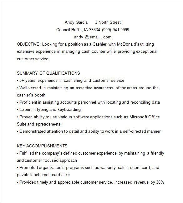 Cashier Resume Template U2013 16+ Free Samples, Examples, Format .  Mcdonalds Resume