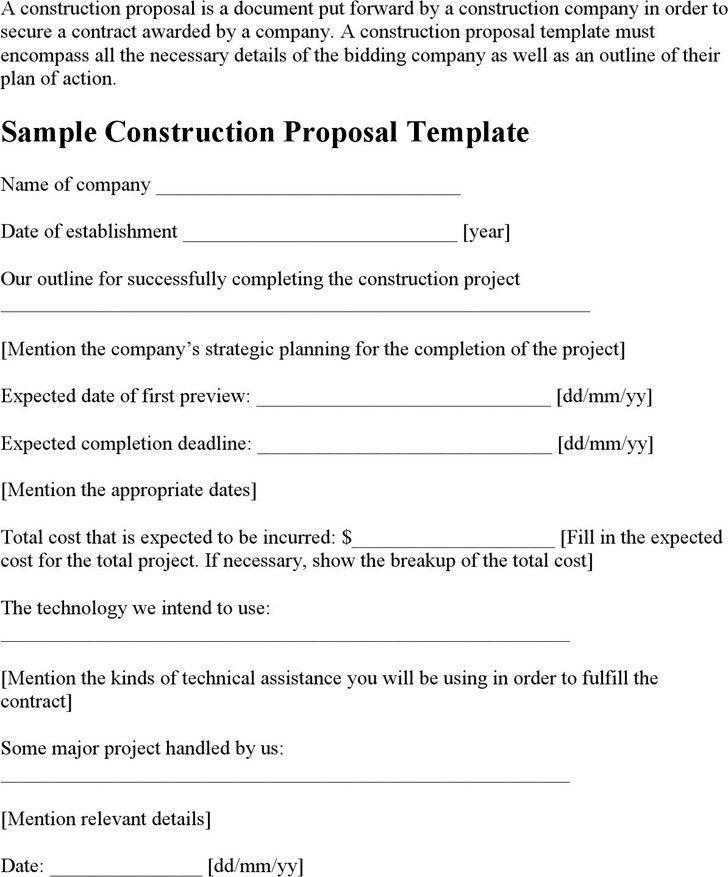 Construction Proposal Sample. Construction Contract Proposal ...