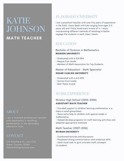Gray and Blue Simple Teacher Resume - Templates by Canva