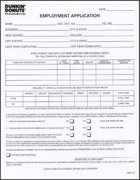 Dunkin Donuts Printable Application | uniglobevolunteers.org