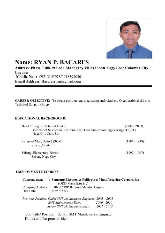 my resume format
