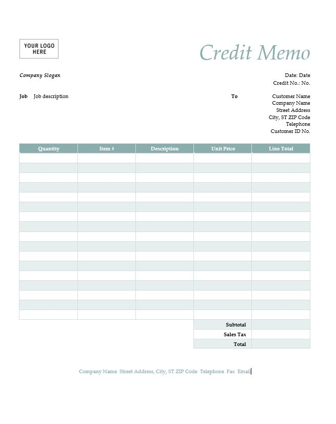 Cash Memo Template | Free Word Templates