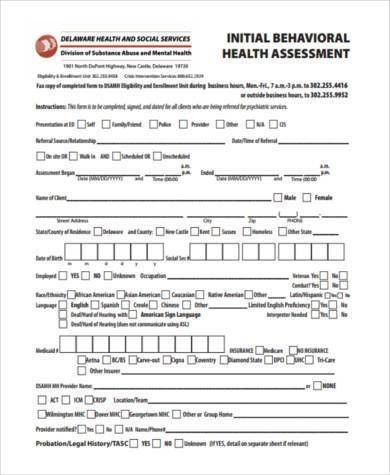 Sample Mental Health Assessment Forms - 7+ Free Documents in PDF