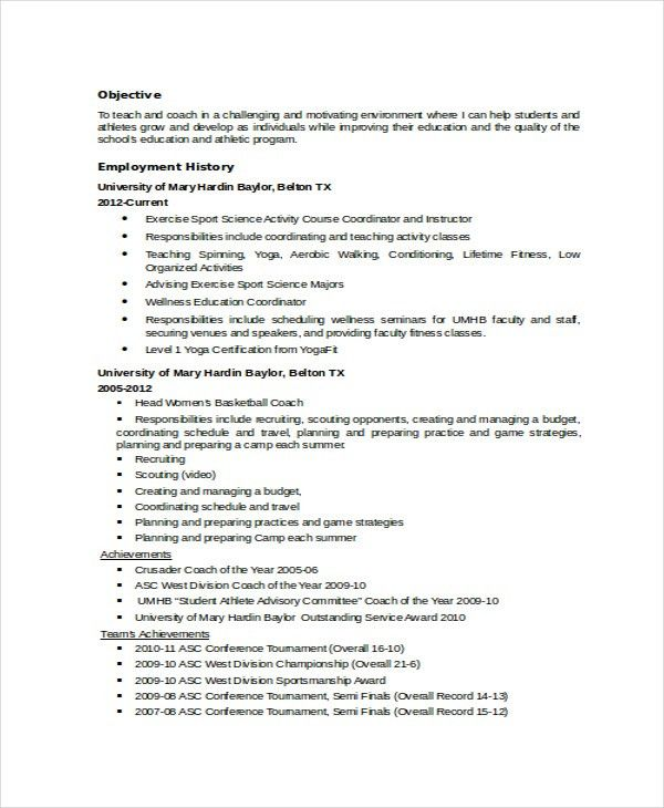 Coach Resume Template - 6+ Free Word, PDF Document Downloads ...