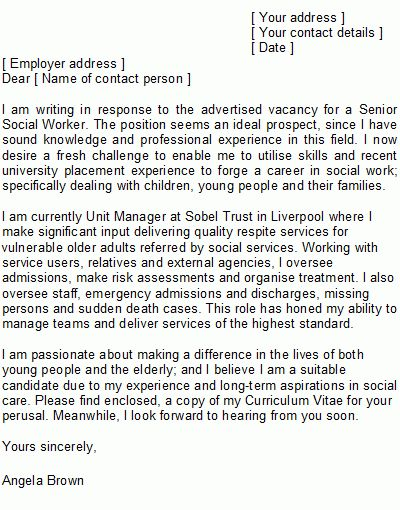 Sample Social Worker Cover Letter