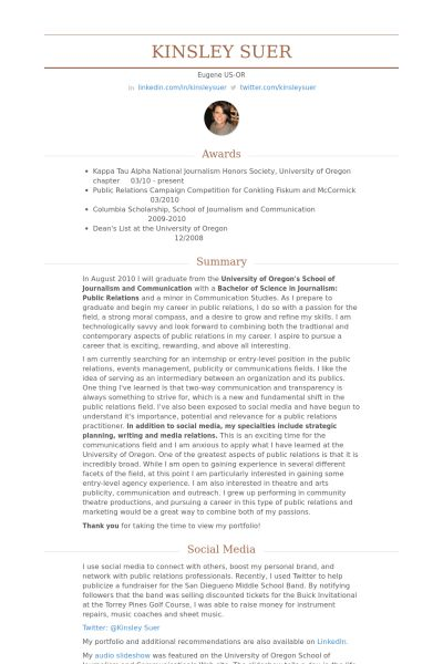 Public Relations Intern Resume samples - VisualCV resume samples ...