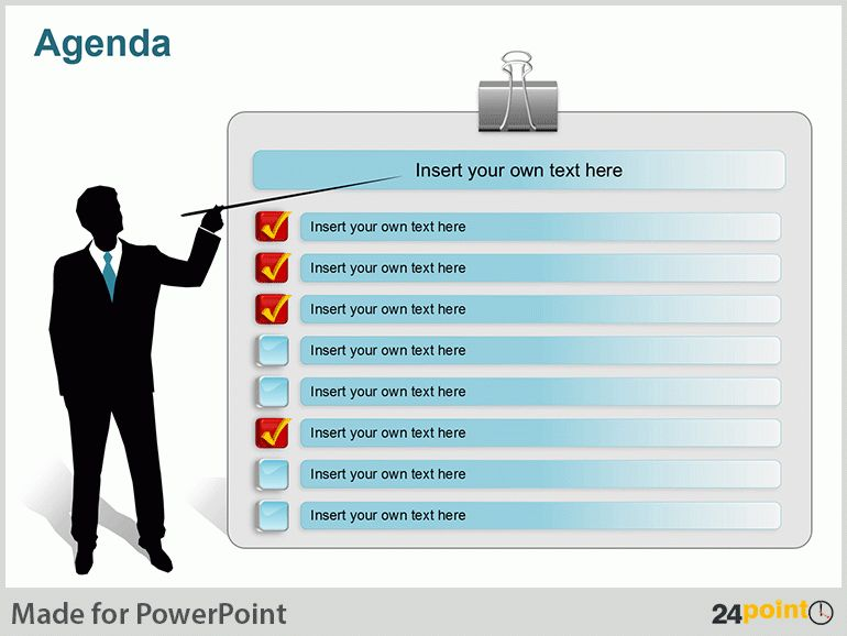 agenda presentation template or summary layout in powerpoint ...