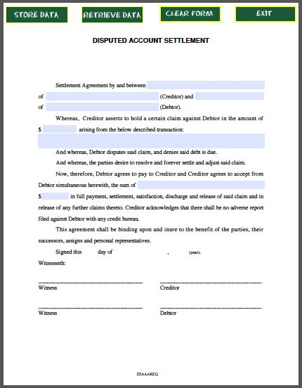 Disputed Account Settlement Agreement | Forms | Pinterest | Raw ...