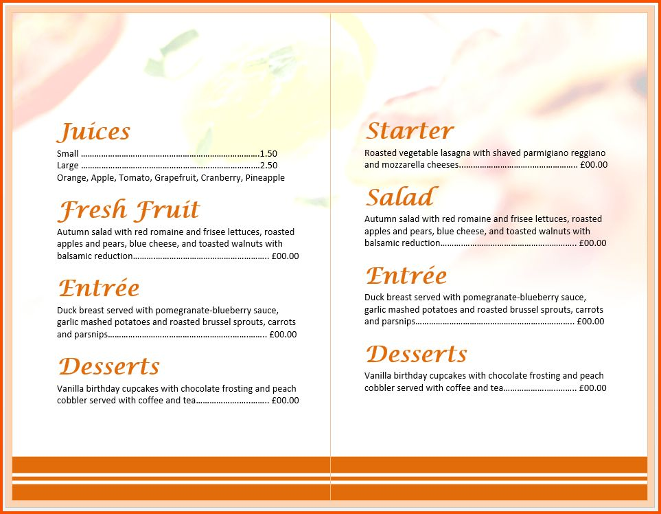 12+ free menu templates for word | Survey Template Words