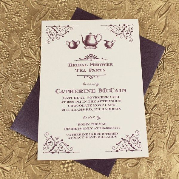 Vintage Bridal Shower Tea Party Invitation Template – Download & Print