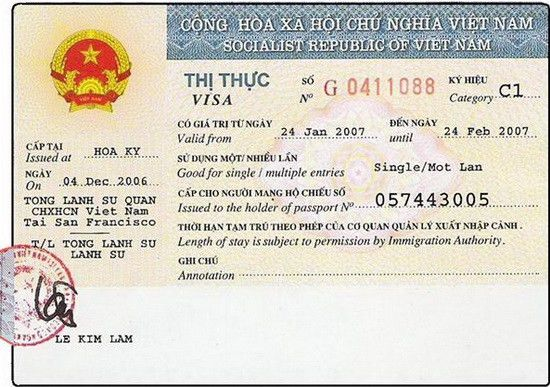 Sample of Vietnam Visa on Arrival and Visa Issued at Embassy