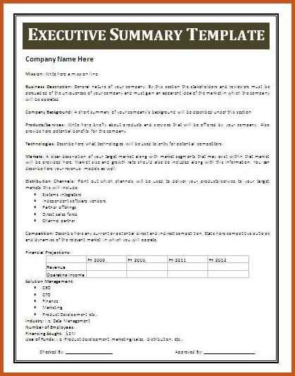 project summary template | sop example