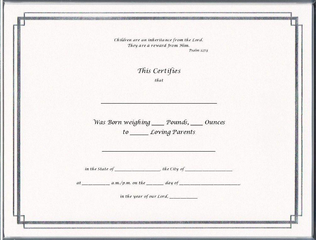 Keepsake Birth 8.5 x 11 inch Certificate - Silver Border Blank ...