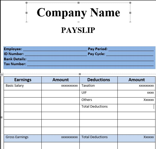 Simple Company Pay Slip Template Example with Blue Color Accent ...