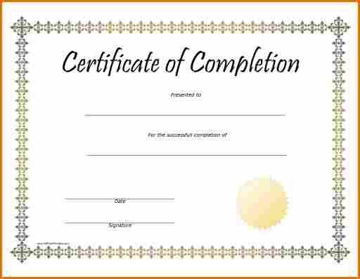 9+ free printable certificates of completion | Job Resumes Word
