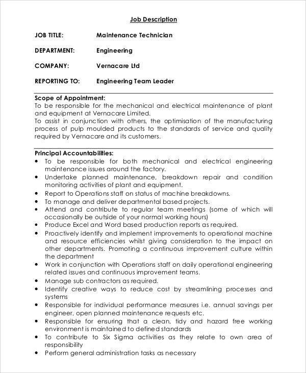 Sample Maintenance Job Description - 9+ Examples in PDF, Word