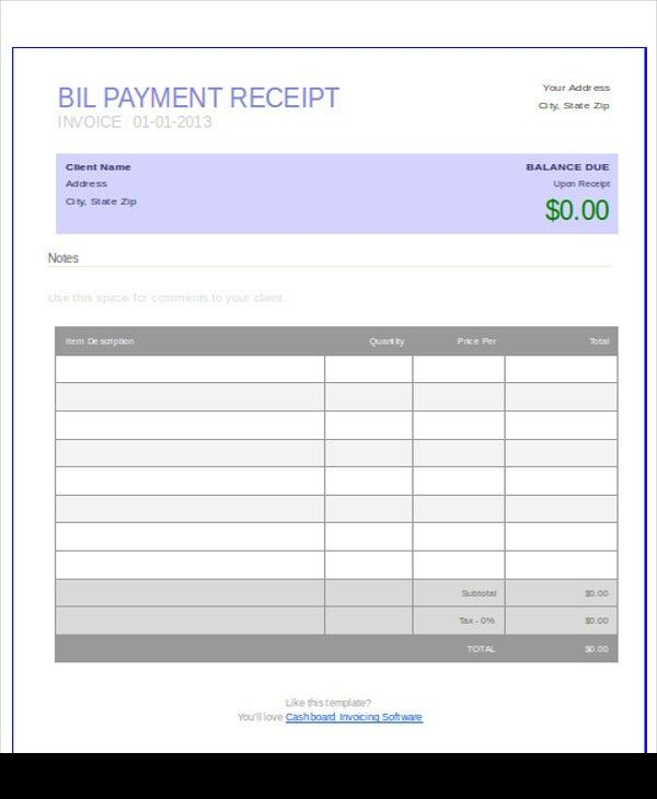 Payment Receipt Format - 7+ Examples in Word, PDF