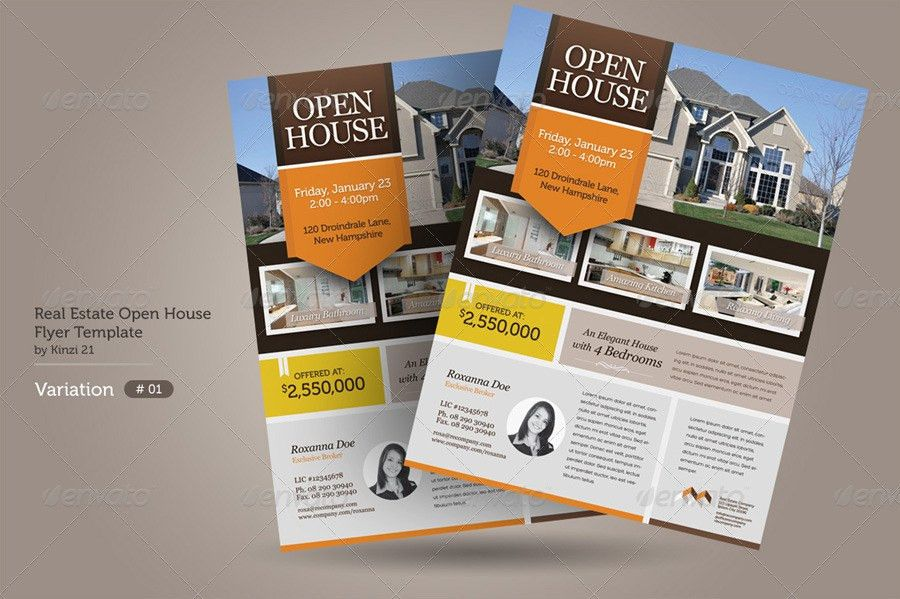 Real Estate Open House Flyers by kinzi21 | GraphicRiver