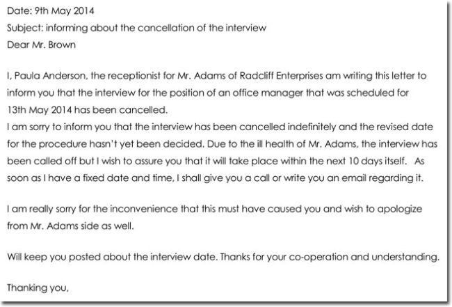 interview cancellation letter