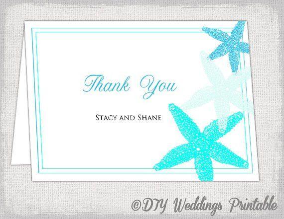 Wedding thank you card template Beach Starfish