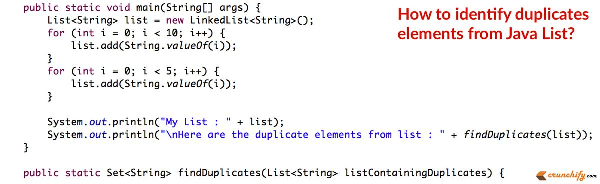 In Java How to Find Duplicate Elements from List? • Crunchify