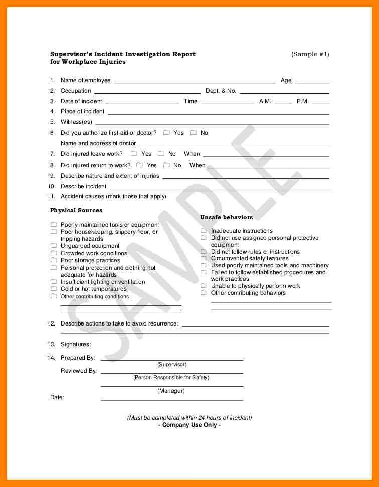 Work Incident Report Template - Contegri.com