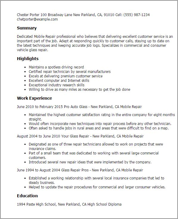 Auto Glass Repair Sample Resume Sample Resume For Automotive