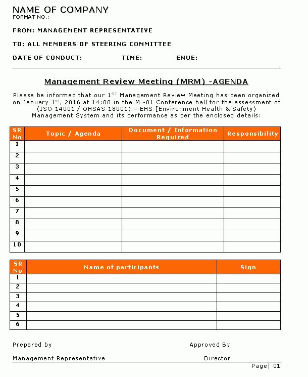 Managers Meeting Agenda Template | Professional Templates