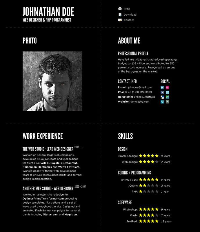 50 Professional HTML Resume Templates | Web & Graphic Design ...