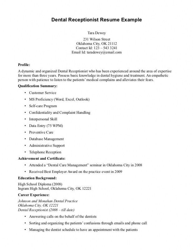 Resume For Front Desk Receptionist | Samples Of Resumes