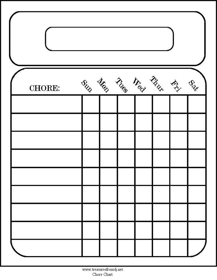 Free Blank Chore Charts Templates | Printables for the home! Chore ...
