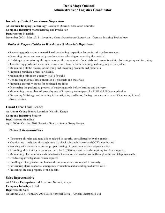 Logistics Coordinator Resume - Resume Example