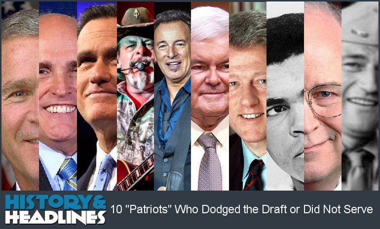 "10 ""Patriots"" Who Dodged the Draft or Did Not Serve - History and ..."