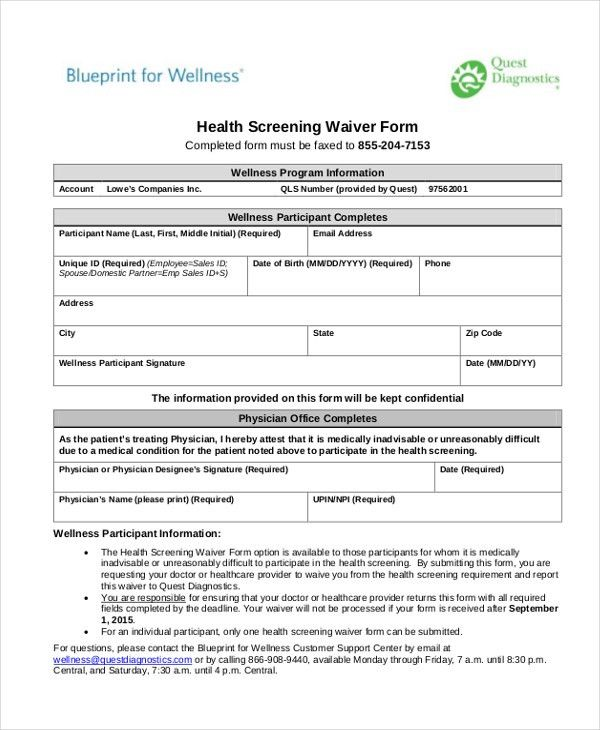 Sample Health Screening Form - 10+ Free Documents in Word, PDF
