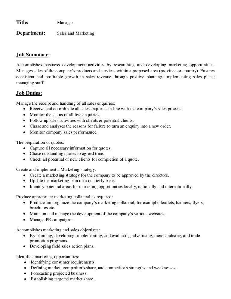 Job description of manager in sales and marketing department