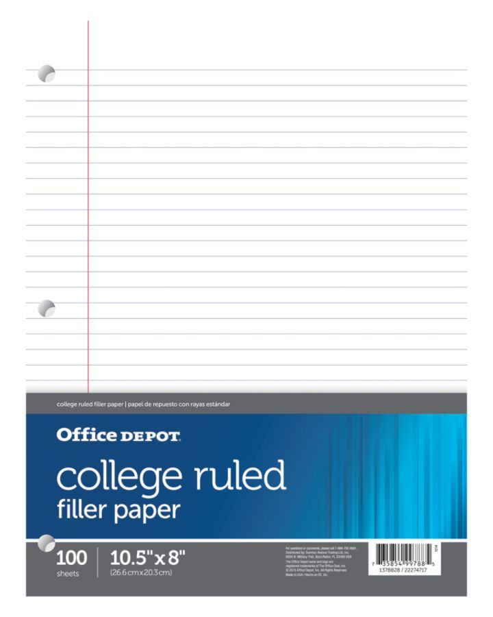 Office Depot Brand Filler Paper 8 x 10 12 100 Count College Ruled ...