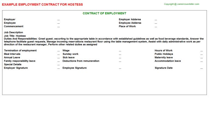 Hostess Employment Contract