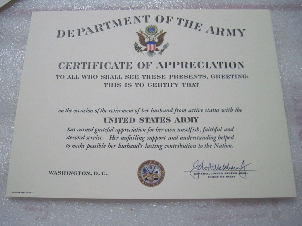 ARMY Retirement Spouse APPRECIATION CERTIFICATE blank DD original ...