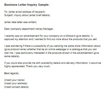 Enquiry Letter Format [Template.billybullock.us ]