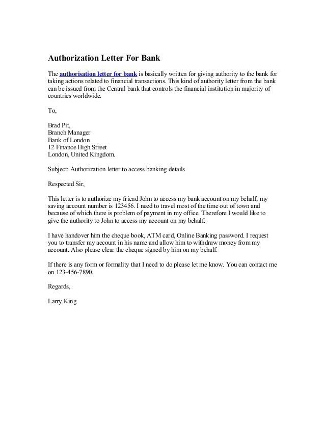bank authorization letter template