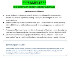 SAMPLE*** Highlights of Qualifications/ Summary | Getting That Job