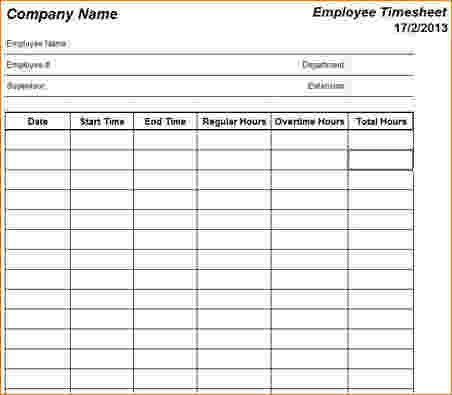Employee Timesheet Template. 12 Daily Timesheet Templates Free ...