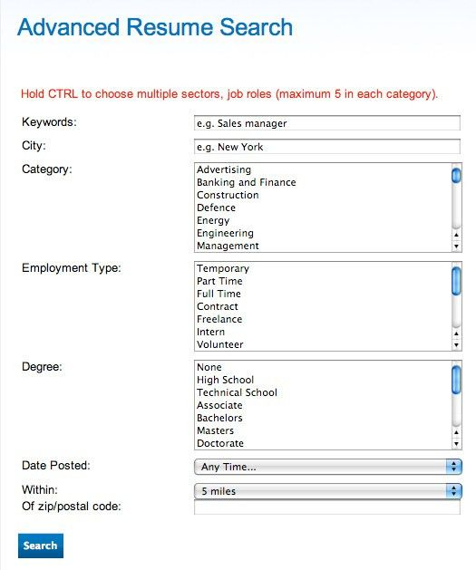 Resume Search Overview | JobMount
