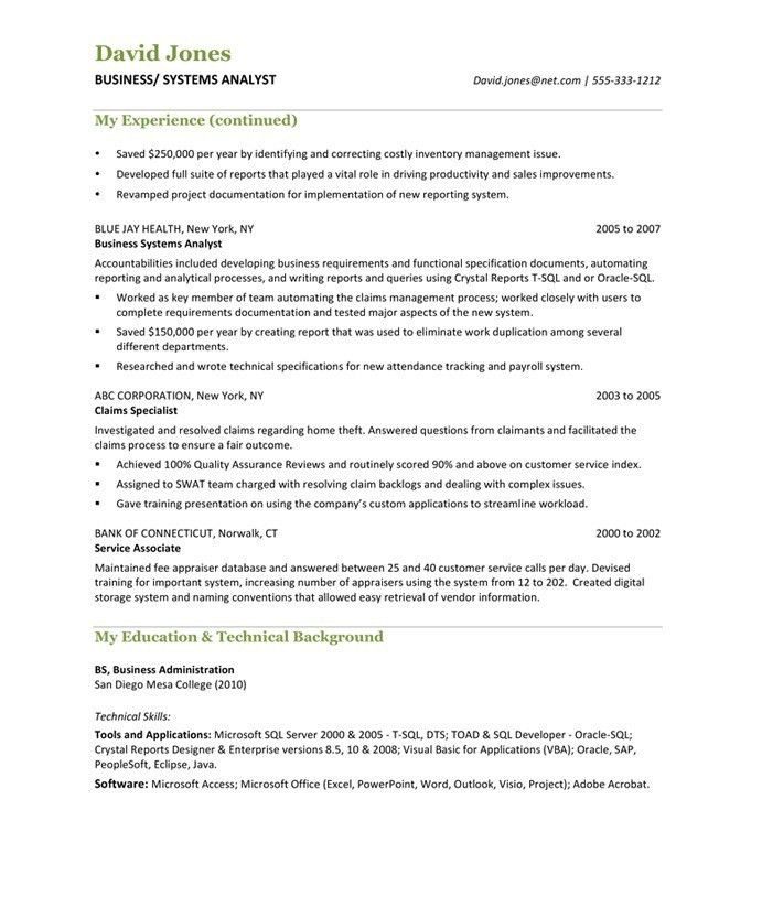 Business Analyst Resume Samples & Examples