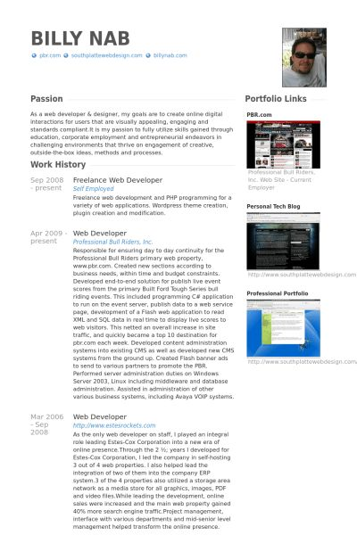 Freelance Web Developer Resume samples - VisualCV resume samples ...